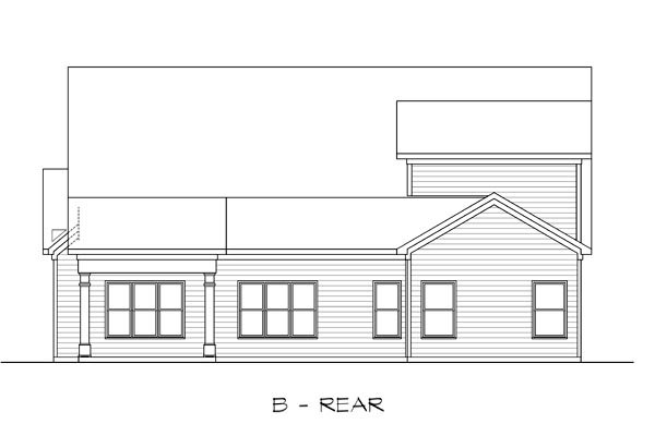 Craftsman, Traditional House Plan 58275 with 4 Beds, 3 Baths, 2 Car Garage Rear Elevation