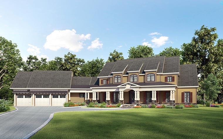Country, Southern House Plan 58285 with 4 Beds, 5 Baths, 3 Car Garage Elevation