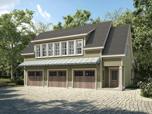 Country, Craftsman, Traditional Garage-Living Plan 58287 with 1 Beds, 2 Baths, 3 Car Garage Elevation