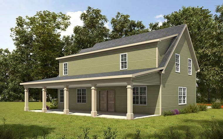 Country, Craftsman, Traditional Garage-Living Plan 58287 with 1 Beds, 2 Baths, 3 Car Garage Rear Elevation