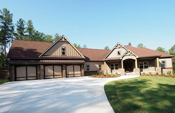Cottage, Country, Craftsman, Traditional House Plan 58299 with 4 Beds, 4 Baths, 3 Car Garage Elevation