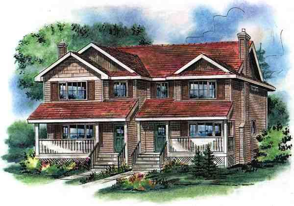Narrow Lot, Traditional Multi-Family Plan 58501 with 6 Beds, 6 Baths Elevation