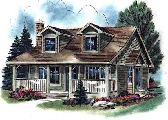 Cape Cod, Narrow Lot, One-Story House Plan 58508 with 2 Beds, 1 Baths Elevation