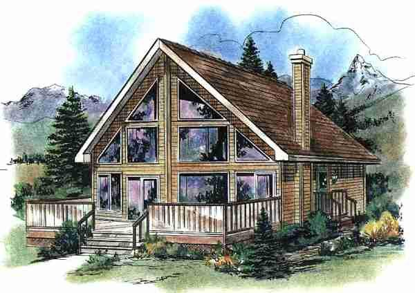Contemporary House Plan 58540 with 2 Beds, 1 Baths Elevation