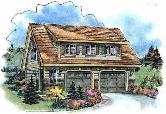 Cape Cod, Contemporary, Craftsman 2 Car Garage Apartment Plan 58541 with 1 Beds, 1 Baths Elevation