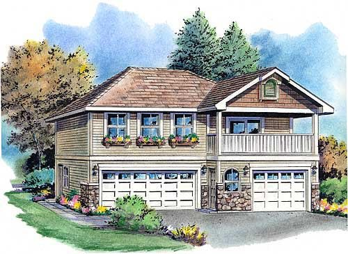 European, Ranch, Traditional 3 Car Garage Apartment Plan 58569 with 2 Beds, 2 Baths Elevation