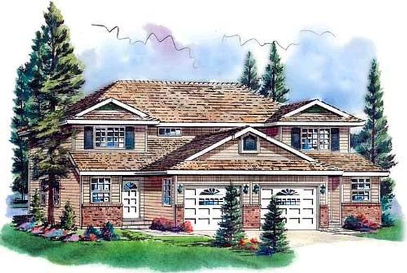 Traditional Multi-Family Plan 58767 with 6 Beds, 6 Baths, 2 Car Garage Elevation