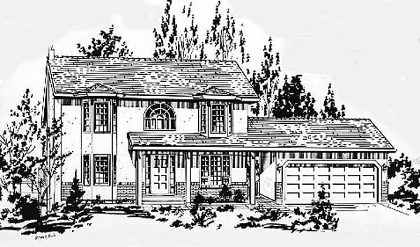 Colonial House Plan 58875 with 3 Beds, 2 Baths, 2 Car Garage Elevation