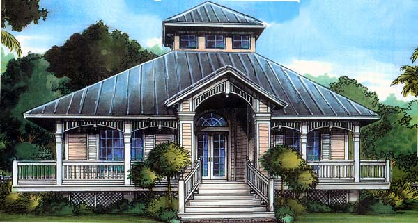 Florida House Plan 58903 with 3 Beds, 2 Baths Elevation