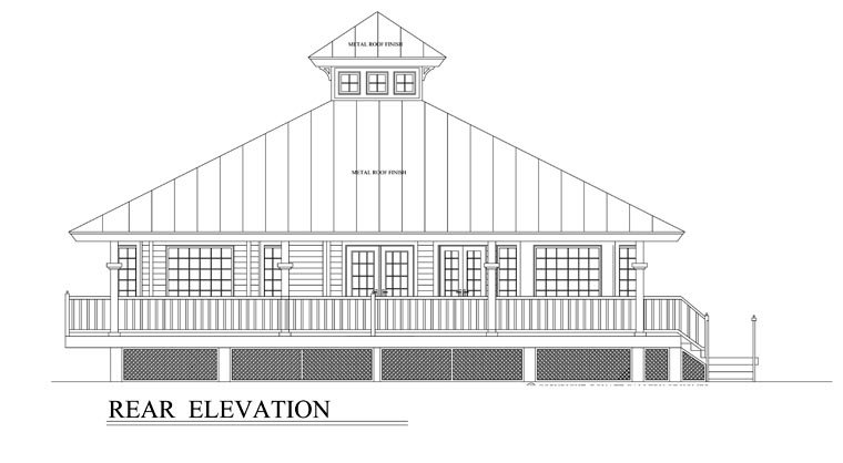 Florida House Plan 58903 with 3 Beds, 2 Baths Rear Elevation