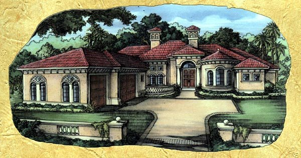 Florida, One-Story House Plan 58921 with 3 Beds, 4 Baths, 3 Car Garage Elevation