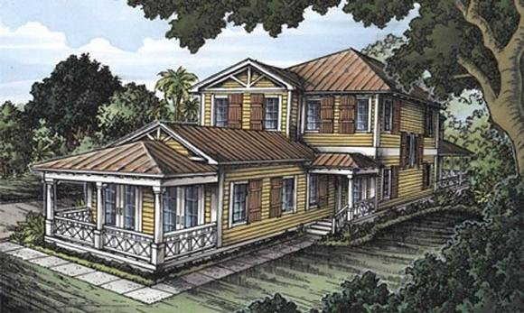 Florida House Plan 58946 with 3 Beds, 4 Baths Elevation