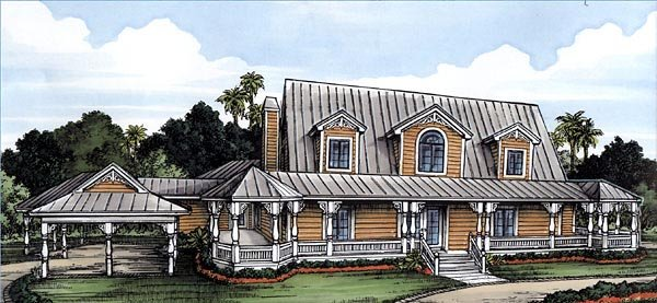 Florida House Plan 58954 with 3 Beds, 3 Baths, 3 Car Garage Elevation