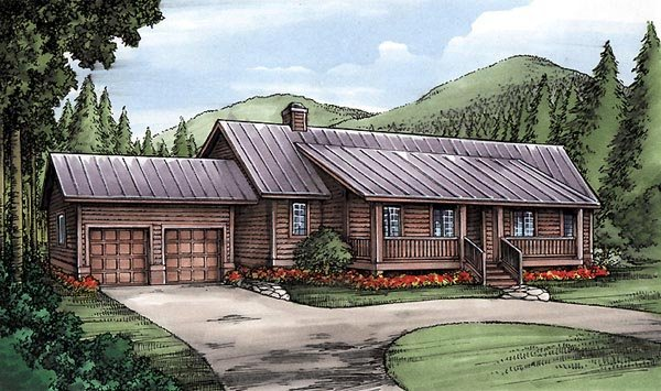 One-Story, Ranch House Plan 58987 with 3 Beds, 4 Baths, 2 Car Garage Elevation