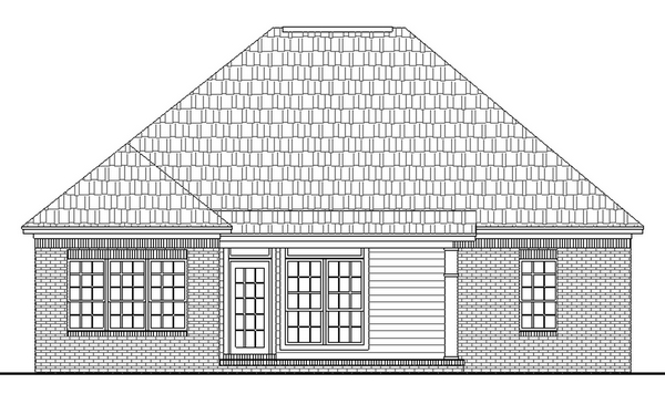 Bungalow, Cottage, European, Traditional House Plan 59001 with 3 Beds, 2 Baths Rear Elevation