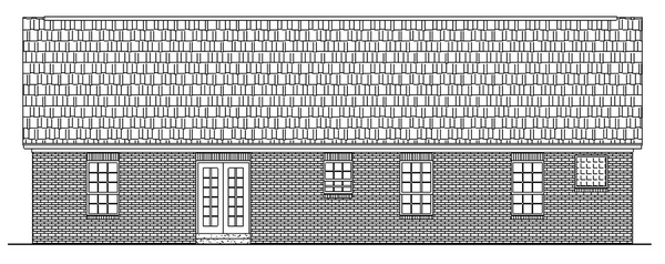 Cottage, Ranch, Traditional House Plan 59003 with 3 Beds, 2 Baths, 2 Car Garage Rear Elevation