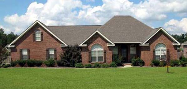 European House Plan 59007 with 3 Beds, 2 Baths, 2 Car Garage Picture 1
