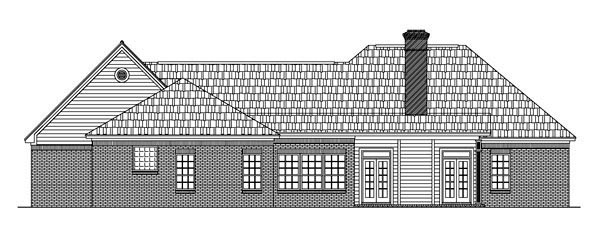 European House Plan 59007 with 3 Beds, 2 Baths, 2 Car Garage Rear Elevation