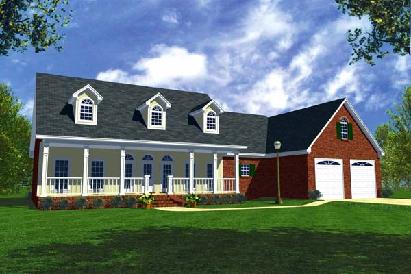 Country, Ranch, Southern, Traditional House Plan 59012 with 3 Beds, 3 Baths, 2 Car Garage Elevation