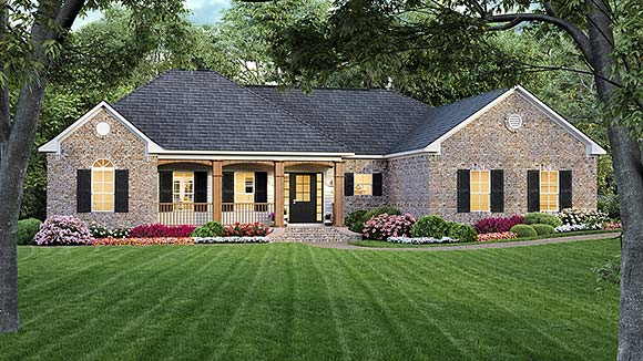 European, Ranch, Traditional House Plan 59015 with 3 Beds, 2 Baths, 2 Car Garage Elevation