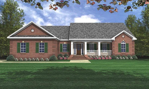 Country, Ranch, Traditional House Plan 59017 with 3 Beds, 2 Baths, 2 Car Garage Elevation