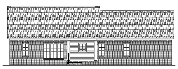 Country, Ranch, Traditional House Plan 59017 with 3 Beds, 2 Baths, 2 Car Garage Rear Elevation