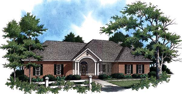 European, Ranch, Traditional House Plan 59020 with 3 Beds, 3 Baths, 2 Car Garage Elevation