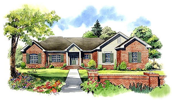 European, Ranch, Traditional House Plan 59021 with 3 Beds, 2 Baths, 2 Car Garage Elevation