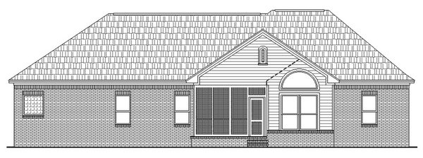 European, Ranch, Traditional House Plan 59021 with 3 Beds, 2 Baths, 2 Car Garage Rear Elevation