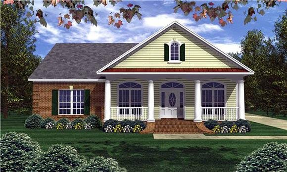 Colonial, Southern, Traditional House Plan 59022 with 3 Beds, 3 Baths, 2 Car Garage Elevation