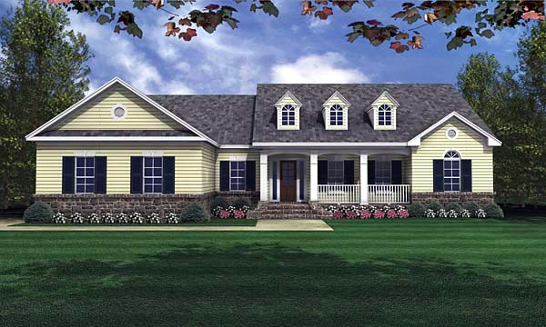 Country, Traditional House Plan 59023 with 3 Beds, 2 Baths, 2 Car Garage Elevation