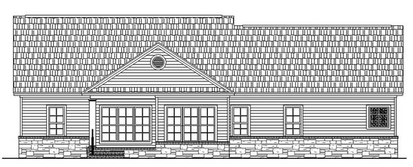Country, Traditional House Plan 59023 with 3 Beds, 2 Baths, 2 Car Garage Rear Elevation