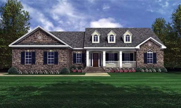 Country, Ranch, Traditional House Plan 59024 with 3 Beds, 2 Baths, 2 Car Garage Elevation