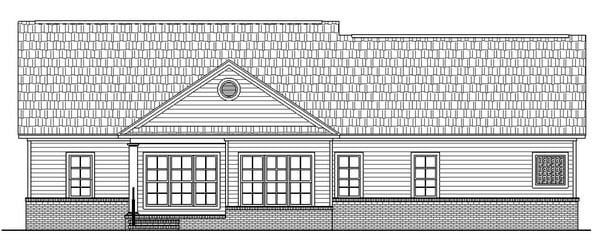 Country, Ranch, Traditional House Plan 59025 with 3 Beds, 3 Baths, 2 Car Garage Rear Elevation