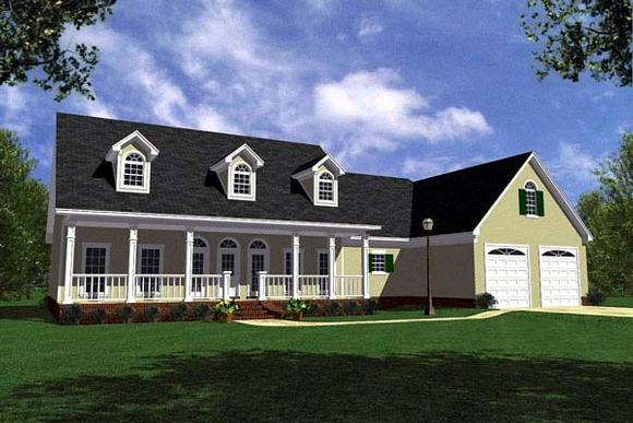 Country, Farmhouse, Ranch, Southern House Plan 59029 with 3 Beds, 3 Baths, 2 Car Garage Elevation