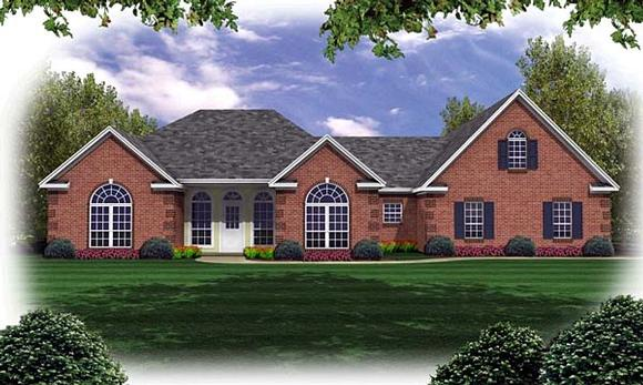 European, French Country, Ranch, Traditional House Plan 59032 with 3 Beds, 3 Baths, 2 Car Garage Elevation