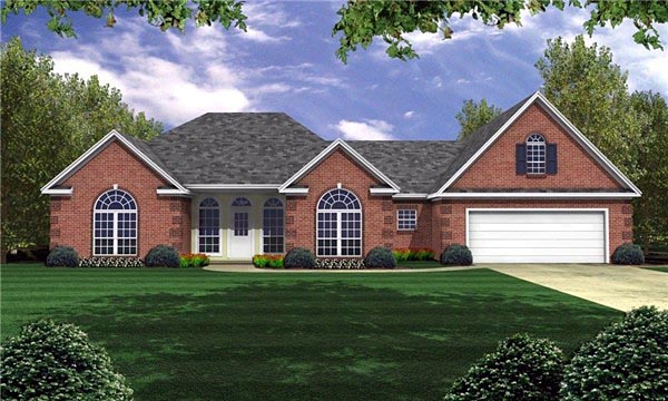 European, French Country, Ranch, Traditional House Plan 59033 with 3 Beds, 3 Baths, 2 Car Garage Elevation