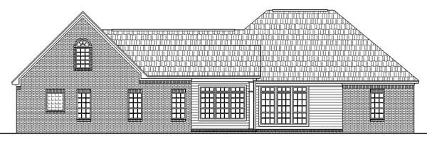 European, French Country, Ranch, Traditional House Plan 59033 with 3 Beds, 3 Baths, 2 Car Garage Rear Elevation