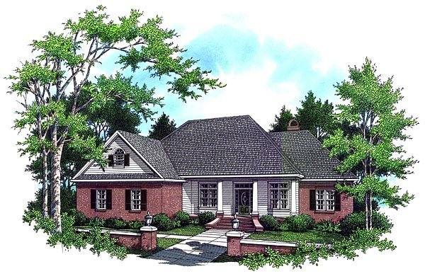 Country, European, French Country, Traditional House Plan 59034 with 3 Beds, 3 Baths, 2 Car Garage Elevation