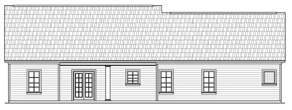 Country, European, Ranch, Traditional House Plan 59035 with 3 Beds, 2 Baths, 2 Car Garage Rear Elevation