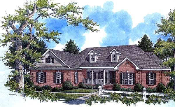 Country, European, Southern, Traditional House Plan 59038 with 4 Beds, 3 Baths, 2 Car Garage Elevation