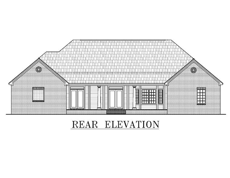 Country, European, Southern, Traditional House Plan 59038 with 4 Beds, 3 Baths, 2 Car Garage Rear Elevation
