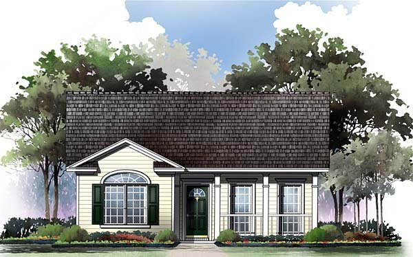 Ranch, Traditional House Plan 59043 with 2 Beds, 2 Baths Elevation