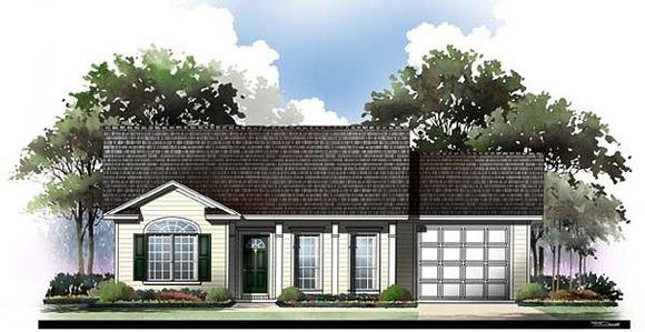 Country, Ranch, Traditional House Plan 59044 with 2 Beds, 2 Baths, 1 Car Garage Elevation