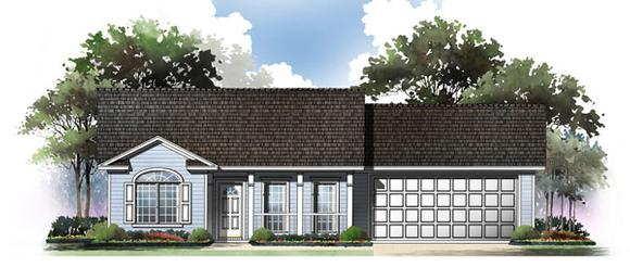 Cape Cod, Country, Ranch, Traditional House Plan 59045 with 2 Beds, 2 Baths, 2 Car Garage Elevation