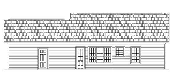 Cape Cod, Country, Ranch, Traditional House Plan 59045 with 2 Beds, 2 Baths, 2 Car Garage Rear Elevation