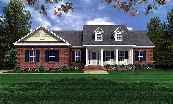 Country, Traditional House Plan 59050 with 3 Beds, 2 Baths, 2 Car Garage Elevation