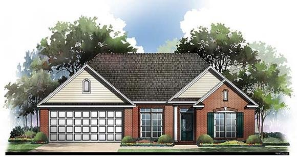 European, Ranch, Traditional House Plan 59059 with 3 Beds, 2 Baths, 2 Car Garage Elevation