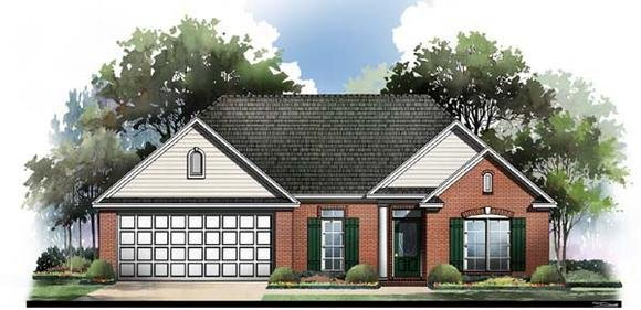 European, Ranch, Traditional House Plan 59060 with 3 Beds, 2 Baths, 2 Car Garage Elevation