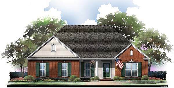European, Ranch, Traditional House Plan 59061 with 3 Beds, 2 Baths, 2 Car Garage Picture 1